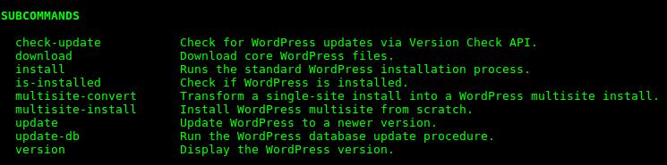 output di wp help core